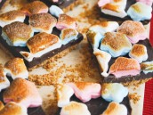 patriotic star marshmallows used in making s'mores bars for memorial day