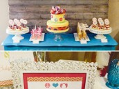 peace and love baby shower dessert table