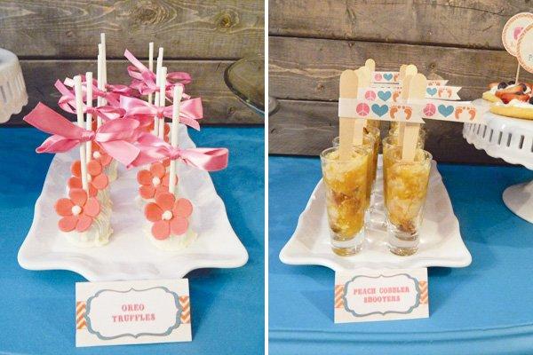 Peace & Love Baby Shower flower adorned cake pops