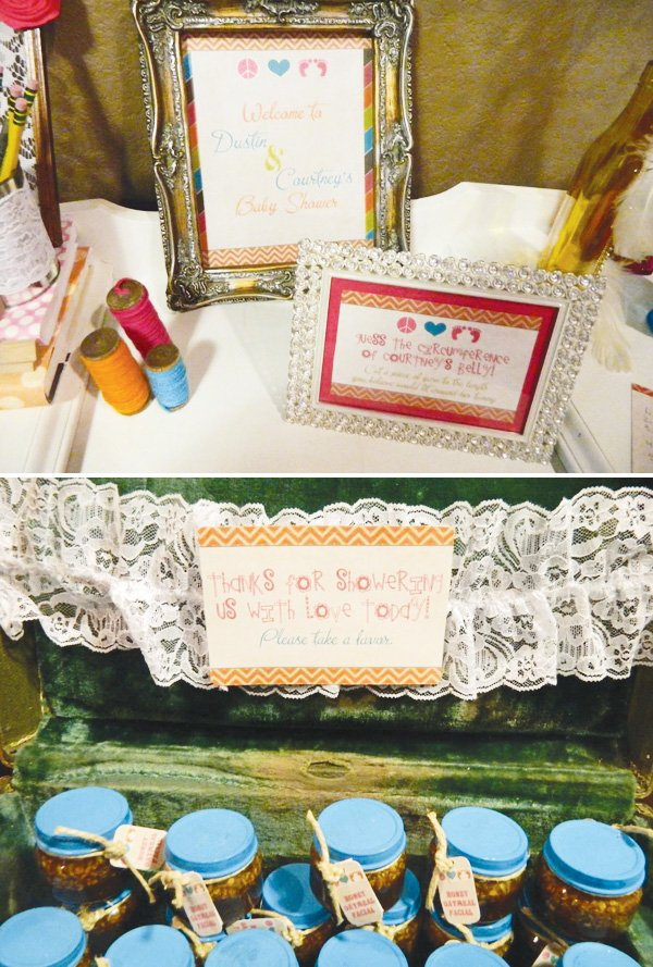 Peace & Love Baby Shower welcome sign and party favors