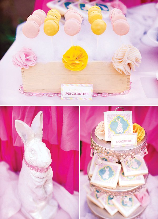 angels and bunny decorations with pink and yellow macarons