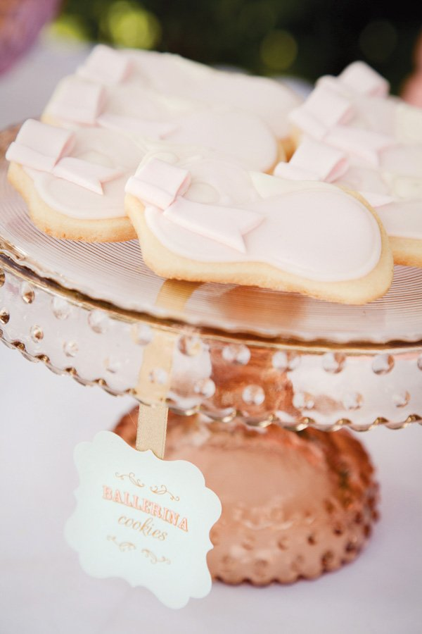 pink ballerina party ballet shoe shaped cookies
