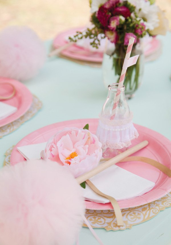 pink ballerina party place setting
