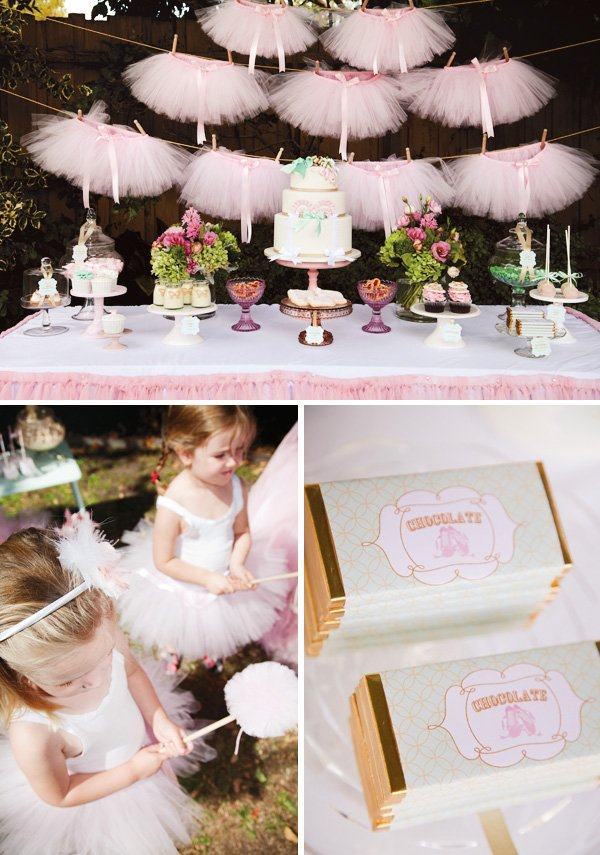pink tutu and ballerina party dessert table