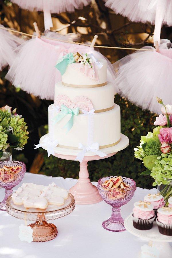 pink ballerina tutu party cake