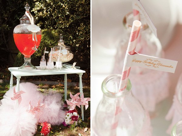 pink tutu and ballerina birthday party drink station for the kids