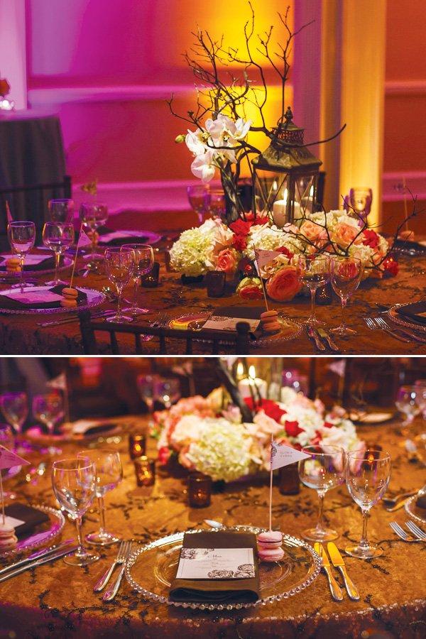 Modern vintage wedding ideas in pink brown hostess