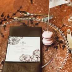 pink and brown modern vintage style wedding menu