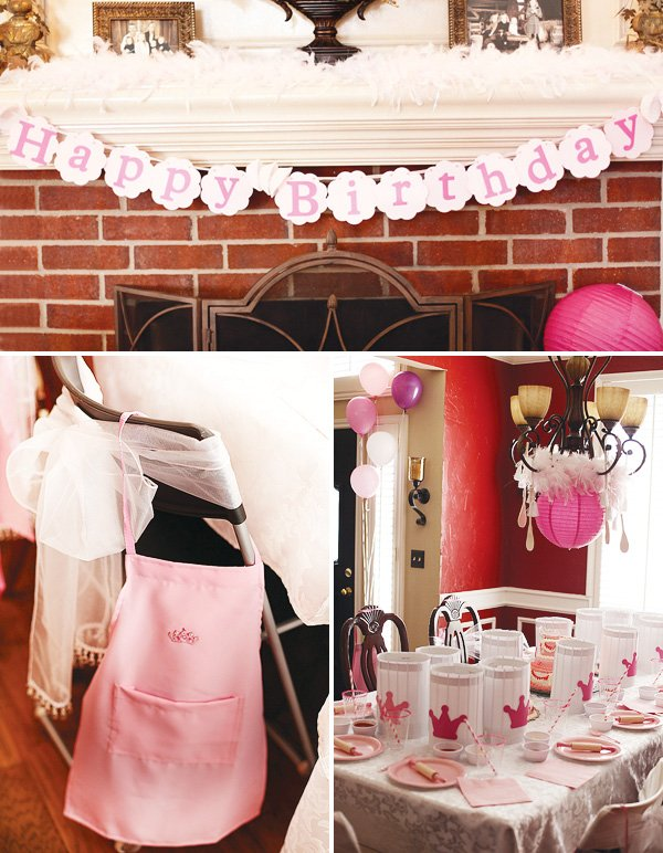 pink cooking party table settings