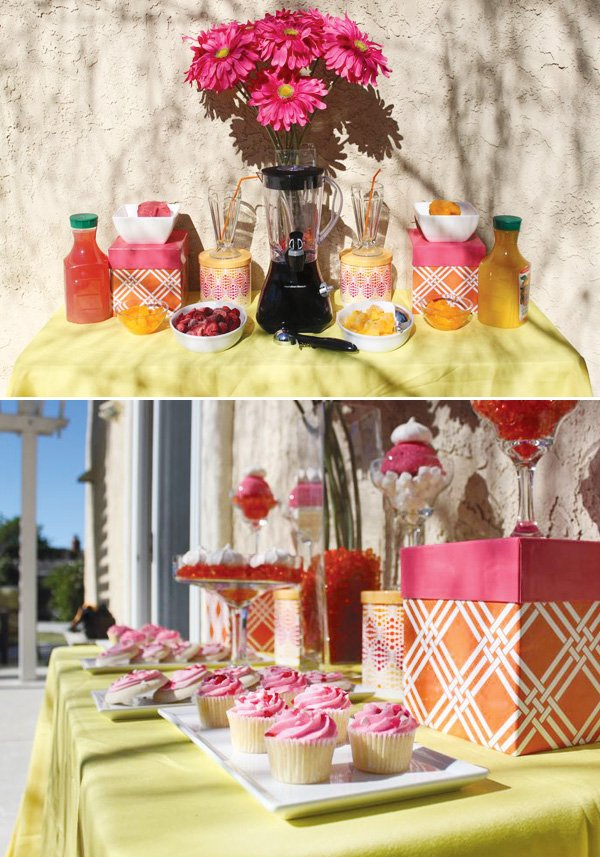 pink juice bar and sweets table with yellow accents