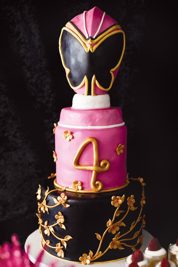 pink power ranger party butterfly cake