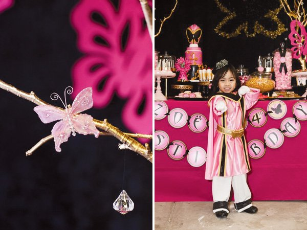 pink power ranger party butterfly