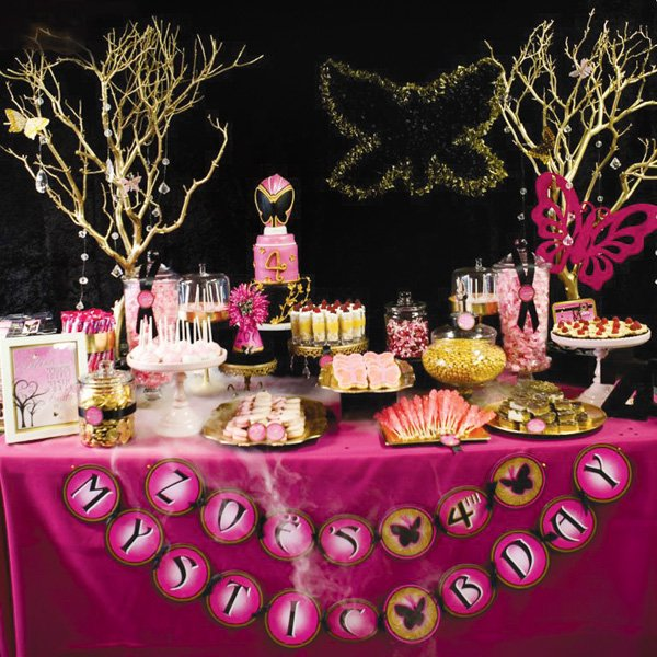 pink power ranger party dessert table