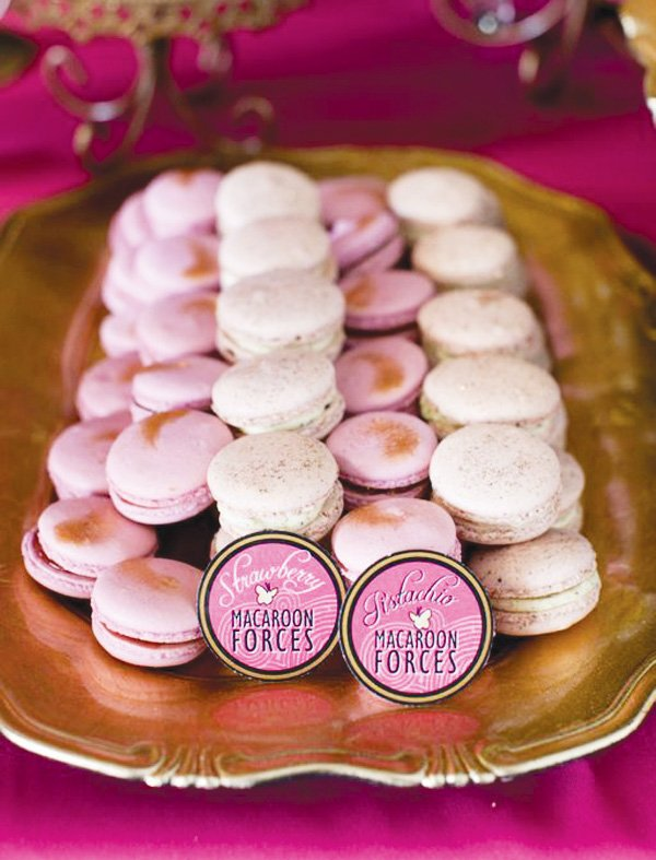 pink power ranger party macarons