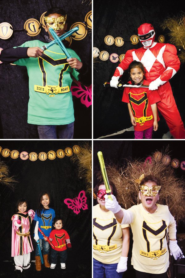 pink power ranger party photo booth costumes