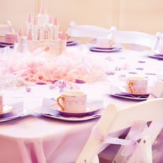 pink and purple princess party castle centerpiece