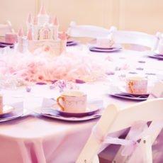 pink and purple princess party castle centerpiece
