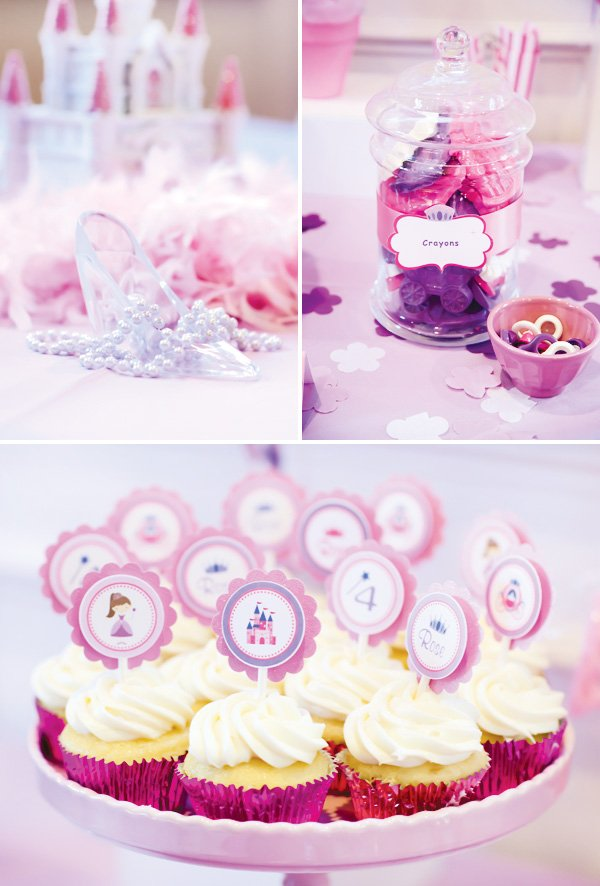 pink and purple princess party cupcake toppers