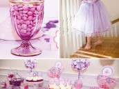 pink and purple princess party dessert table