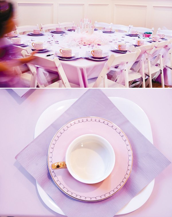 pink and purple princess party place setting