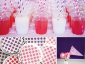 pink and purple princess party polka dot oreos and striped straws