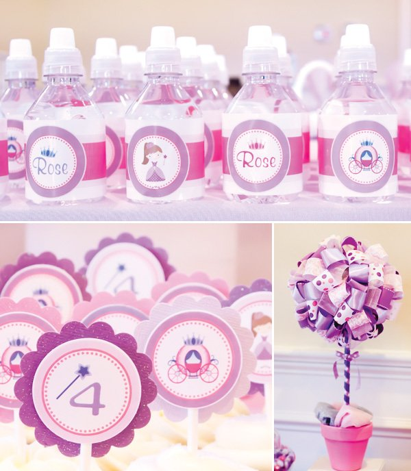 pink and purple princess party water bottle labels