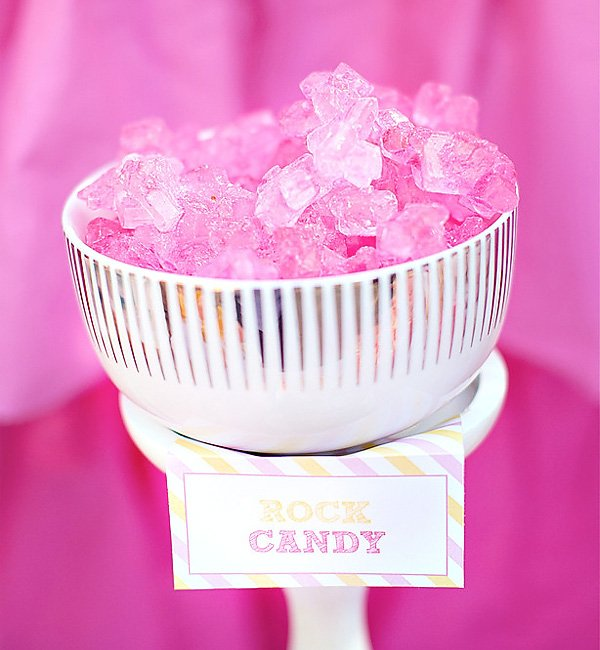 pink rock candy for an angel party