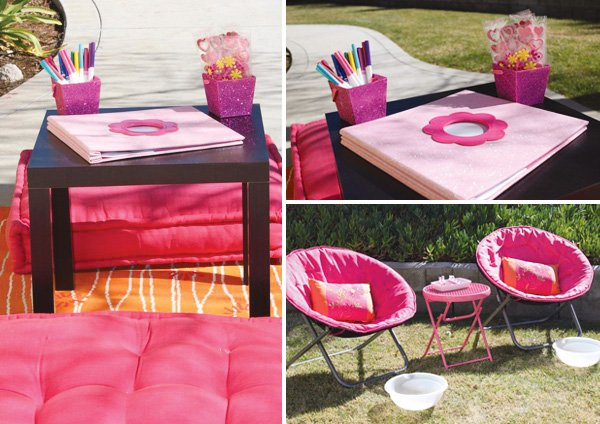 pink spa and scrapbook party