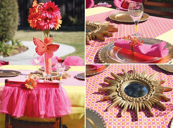 pink table setting and butterfly centerpiece decoration