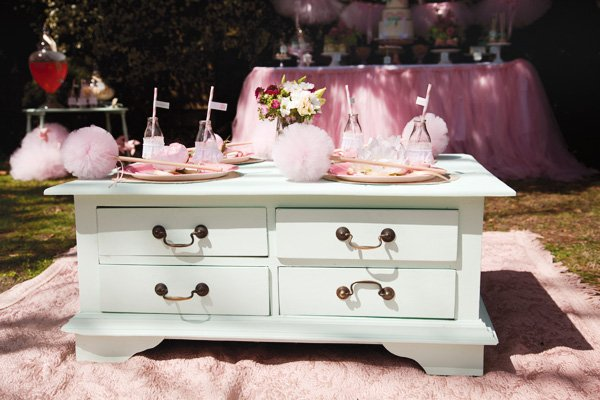 pink tutu and ballerina party table in mint green