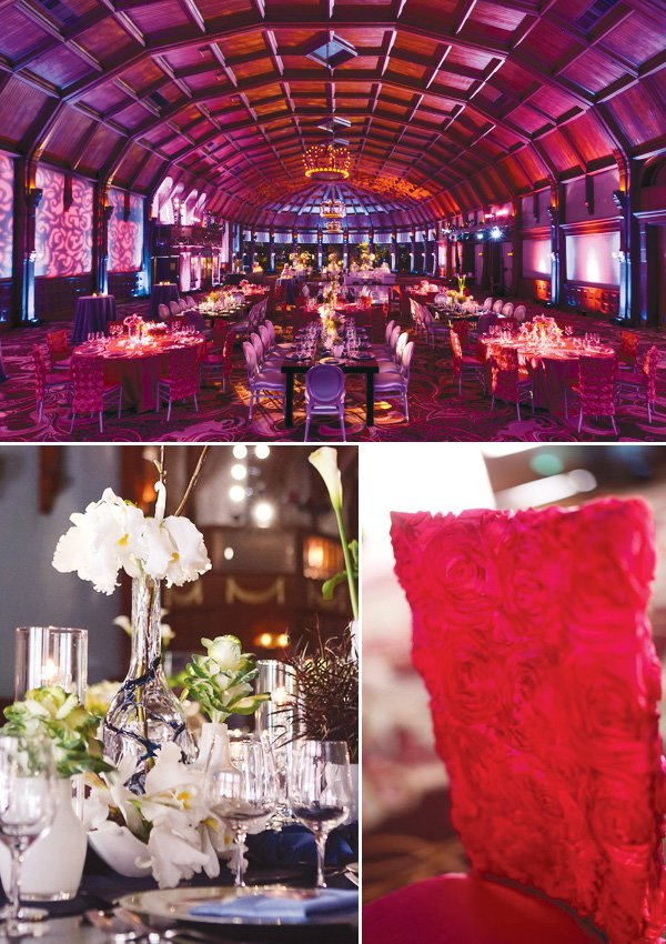 pink wedding in the coronado hotel with pink chair covers