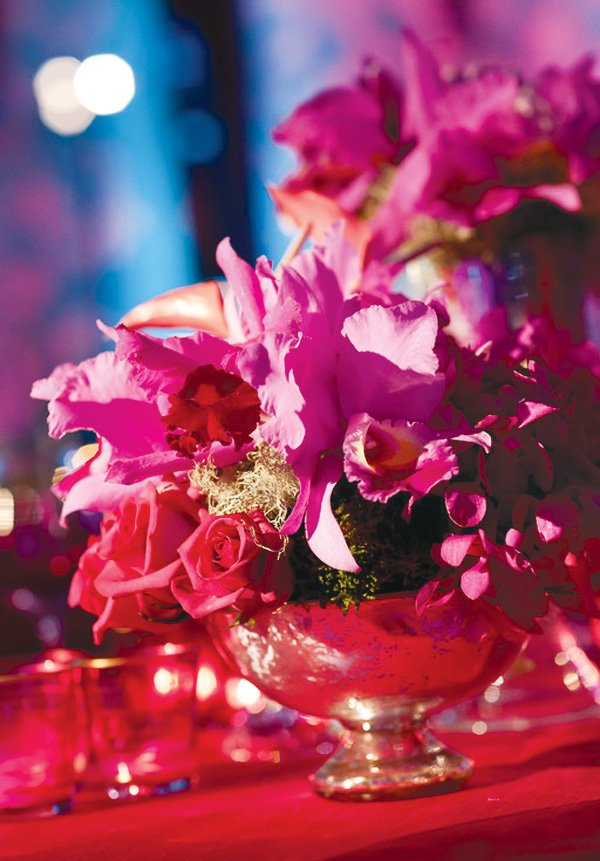 pink wedding floral design