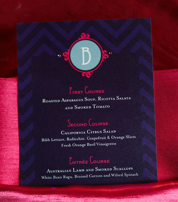 pink and navy blue wedding menu by jenn sbranti for hostess with the mostess