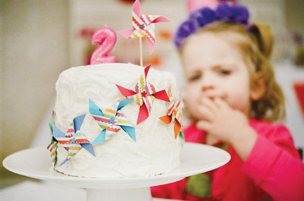 pinwheel party theme cake