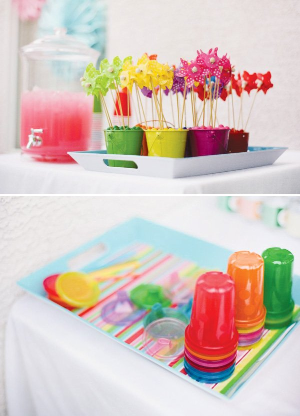 pinwheel party theme drink station