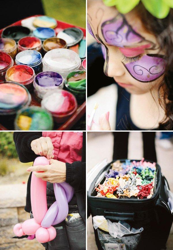 pinwheel party theme face paint