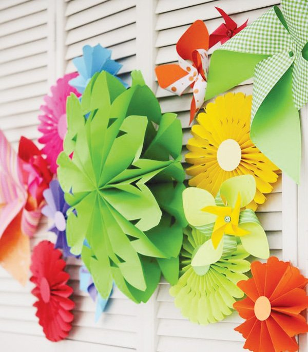 pinwheel party theme paper backdrop decor