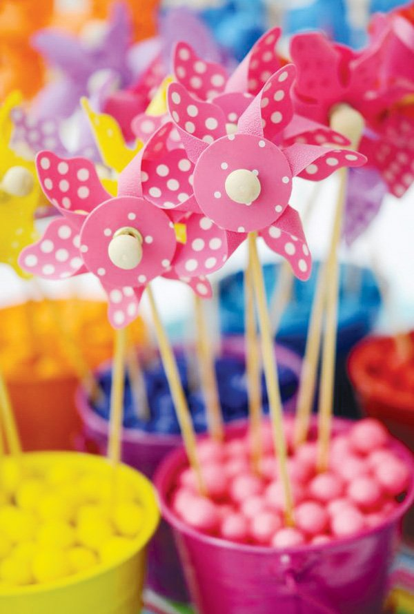 pinwheel party theme with pink polka dots