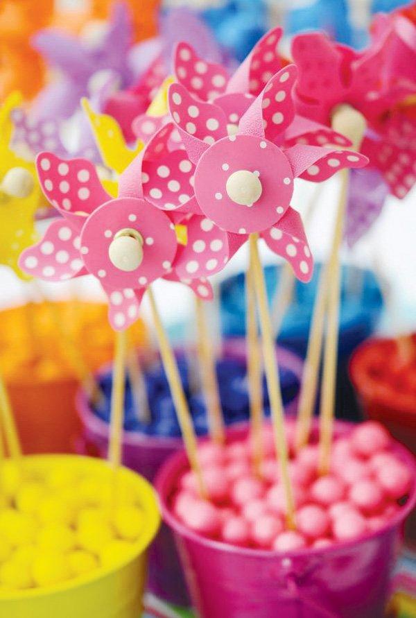 pinwheel party theme with pink polka dots