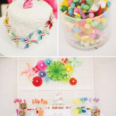 pinwheel party theme with rainbow candy