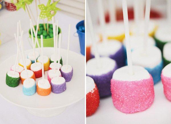 pinwheel party theme with rainbow marshmallow pops