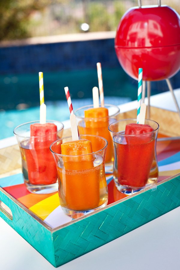 popsicle cocktails - strawberry and tangerine
