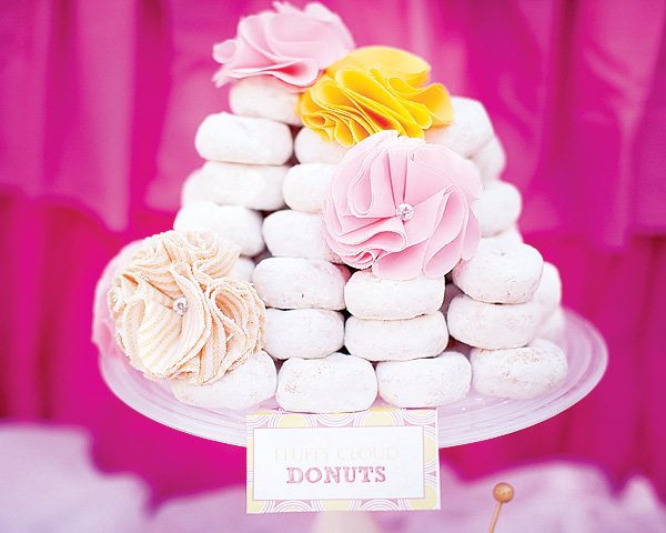 donut tower with fabric flowers