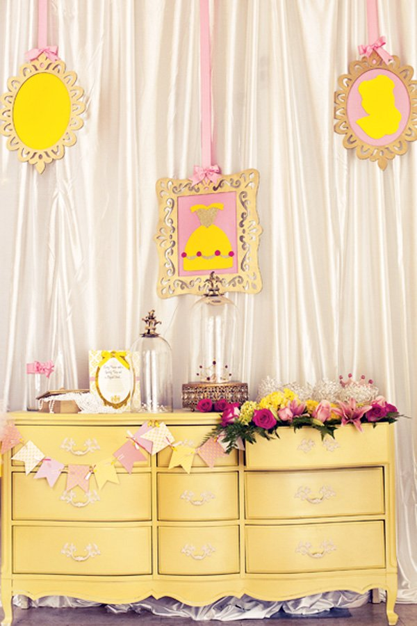 beauty and the beast theme party with a princess belle makeup station