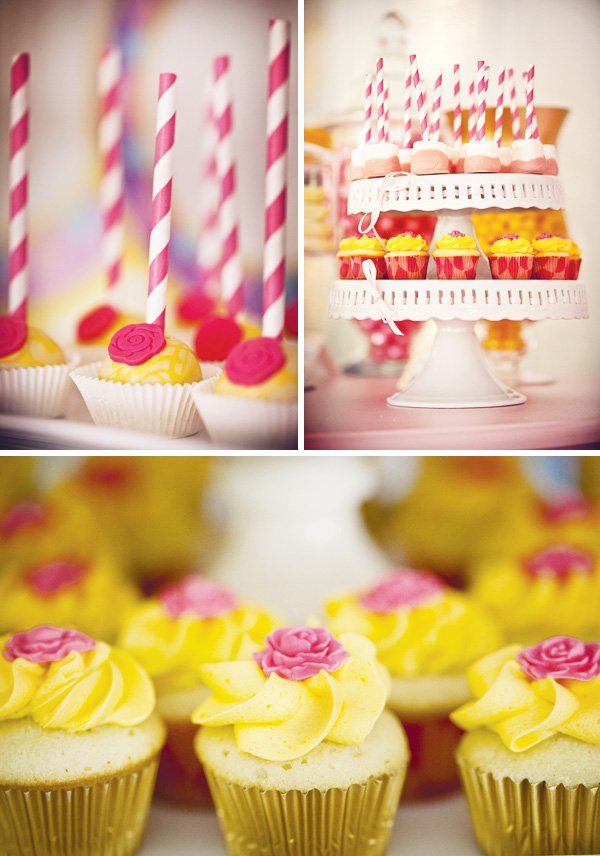 princess belle yellow and pink sweets