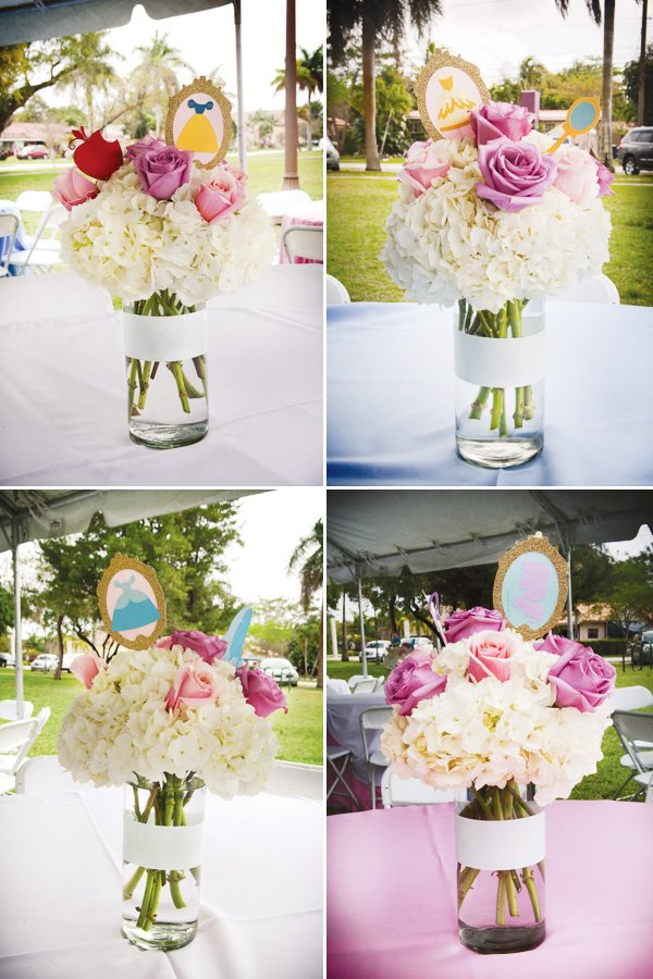 disney princess birthday party floral centerpieces