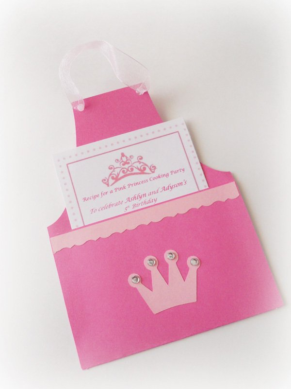 princess cooking party with an apron shaped invitation