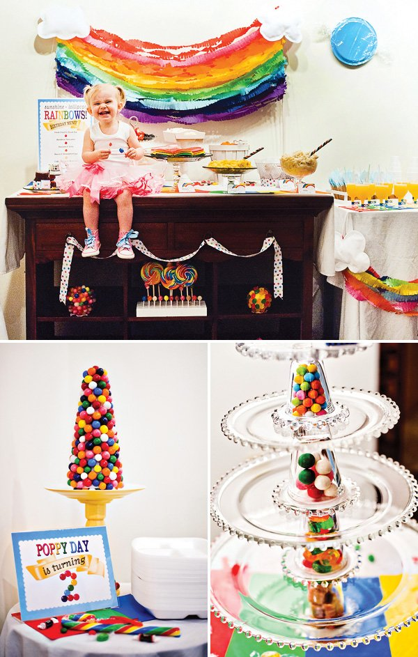 rainbow sunshine and lollipop birthday brunch