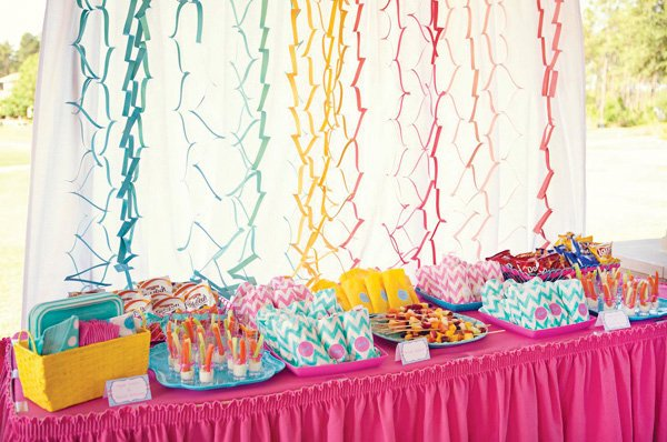 DIY rainbow chevron party backdrop