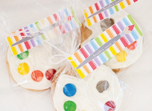 rainbow paint party cookies